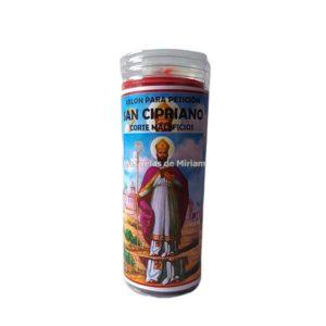 Velón de oración con aceite San Cipriano