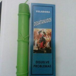 Veladora virgen Desatanudos verde