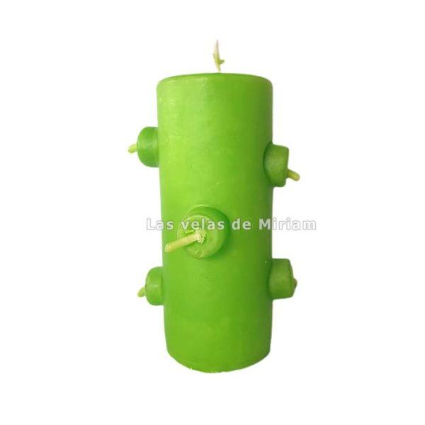 Velón 7 mechas verde