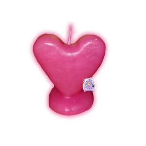 Figura Cera Corazón Rosa