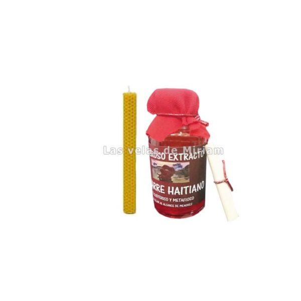 En este pack encontrarás un frasco de amarre haitiano, un pergamino y las instrucciones necesarias para realizar el ritual. No obstante, también necesitarás un bolígrafo de tinta roja y muy importante, un velón de miel.