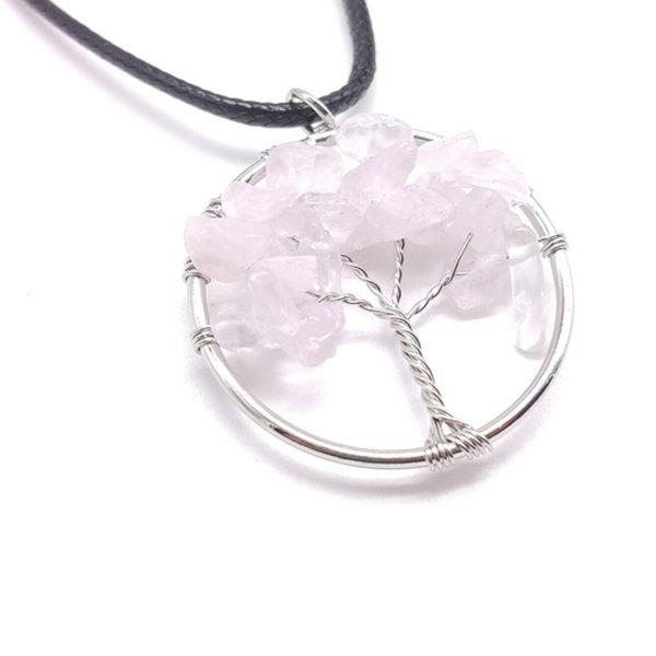 Colgante árbol vida cuarzo rosa