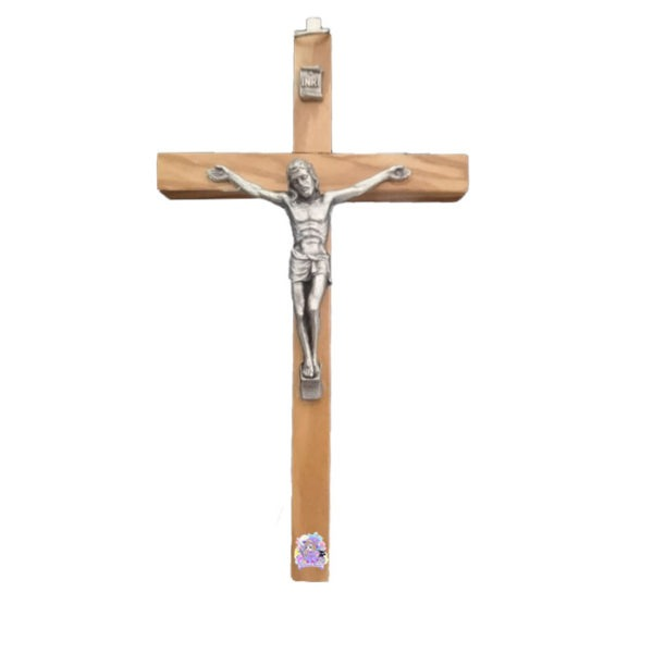 Cruz de madera olivo con cristo metal
