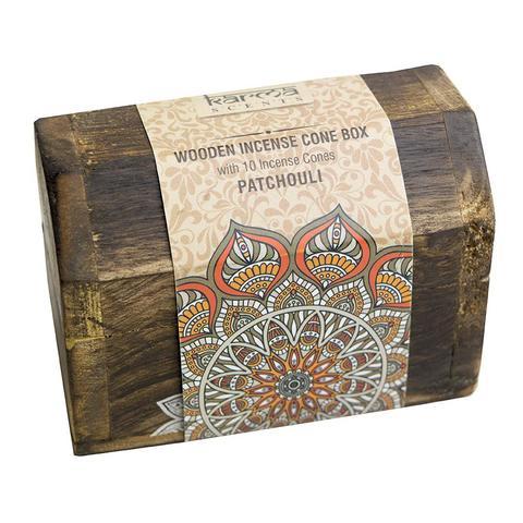 Caja madera con 10 conos de inciensos