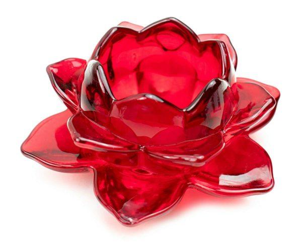 Portavela de cristal flor de loto