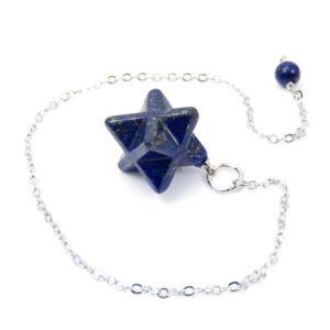 Péndulo de Merkaba en lapislázuli con cadena de 17 cm