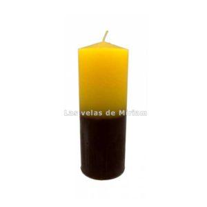 Velón bicolor amarillo marrón