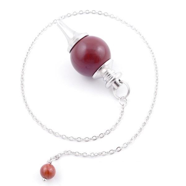 Péndulo de 18 mm con cadena de 26 cm en piedra de jaspe rojo