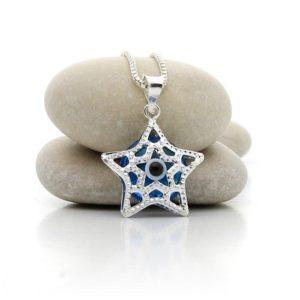 Colgante de plata en forma de estrella con ojo turco