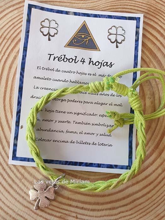 Pulsera hilo con trebol 4 hojas verde