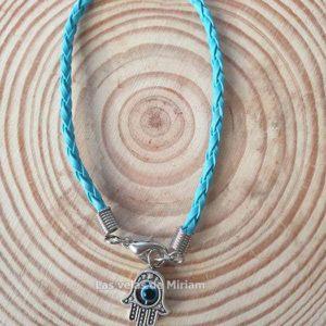 Pulsera cuero trenzada color azul con mano de Fátima y ojo turco