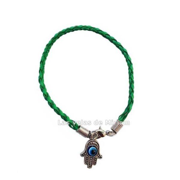 Pulsera cuero trenzada color verde con mano de Fátima y ojo turco