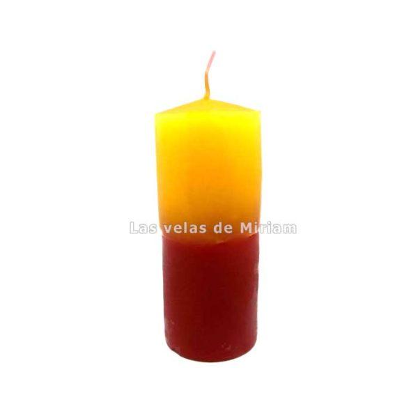 Velón bicolor amarillo rojo