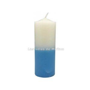 Velón bicolor blanco azul claro