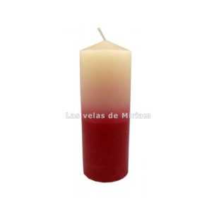 Velón bicolor blanco rojo