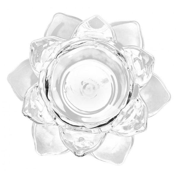 Portavela de cristal flor de loto color transparente