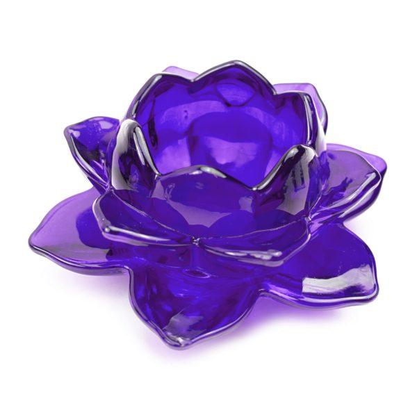 Portavela de cristal flor de loto color lila