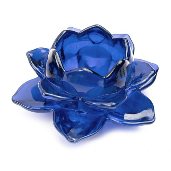 Portavela de cristal flor de loto color azul