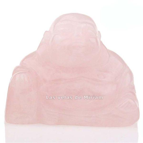 Buda sonriente en cuarzo rosa