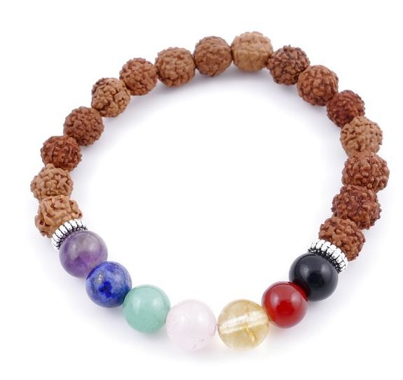 Pulsera elástica de rudraksha sintética & piedras de 7 chakras en 8 mm
