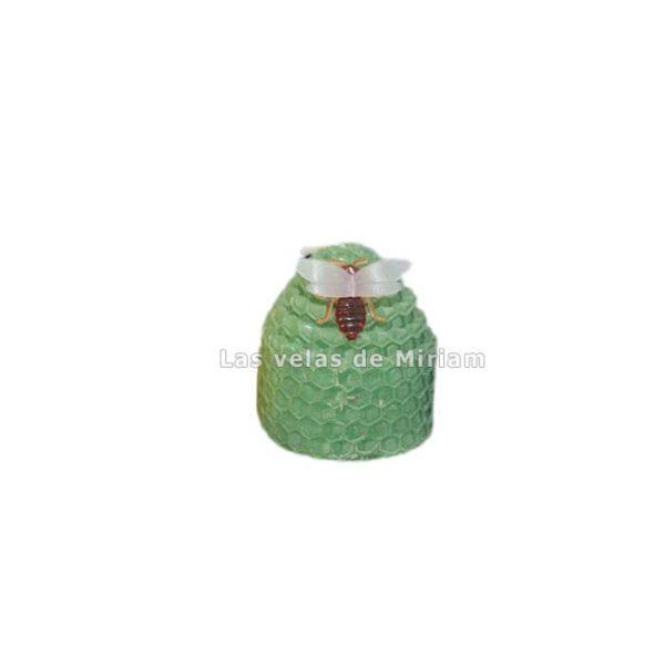 Vela cera natural con abeja verde