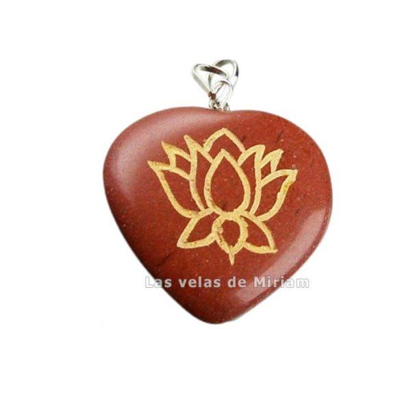 Colgante corazón flor de loto jaspe rojo