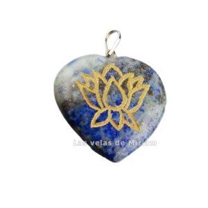 Colgante corazón flor de loto lapislázuli