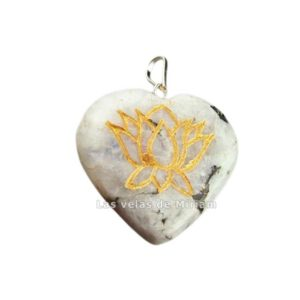 Colgante corazón flor de loto piedra luna
