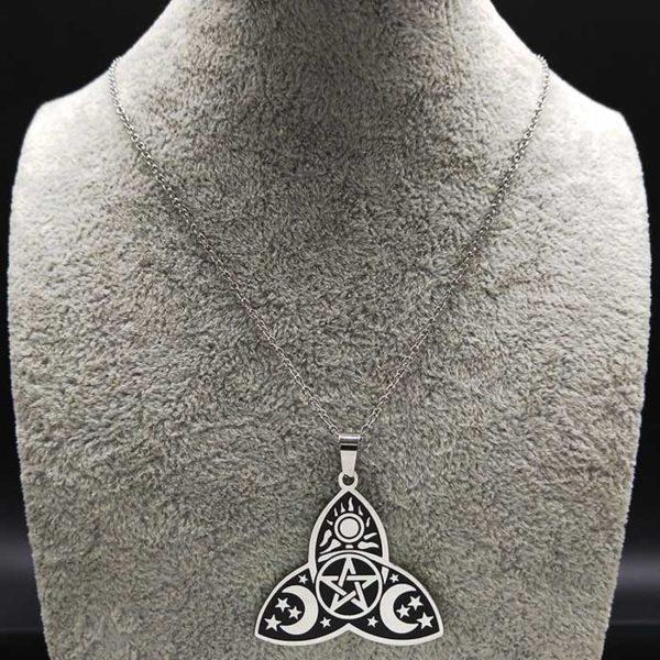 Talismán protección esotérico de las brujas en acero bizantino