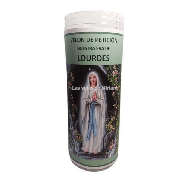 Velón de oración con aceite Virgen de Lourdes