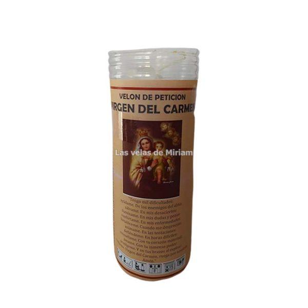 Velón de oración con aceite Virgen del Carmen