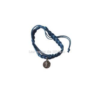 Pulsera hilo azul con medalla San Benito